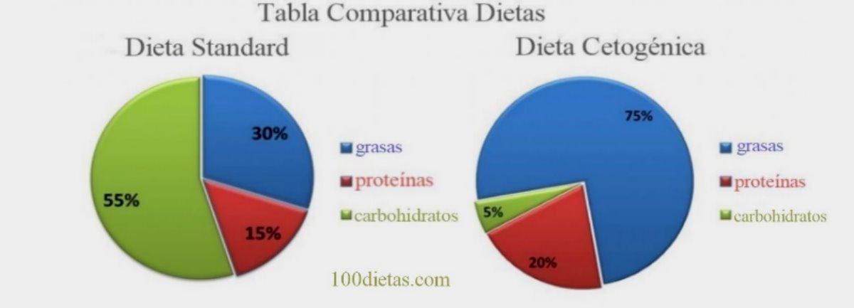 comparativo dieta estandar y dieta cetogenica
