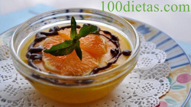 Crema de naranja con salsa de cacao